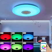Led Ceiling Light Music Rgb Bluetooth Speaker Lamp Dimmable W/smart App Remote