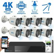 8 Channel 4k Nvr 8 8mp Ai Spotlight Microphone Poe Ip Security Camera System 2tb