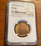 1907 10 Gold Indian Head Eagle Ngc Ms 60