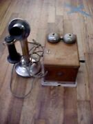 Antique Nickel Western Electric Candlestick Telephone With Oak Ringer Box Works