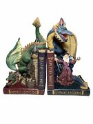 Vintage 80s Mythical Wizard Magic Dungeon Dragons Gothic Legends Bookends