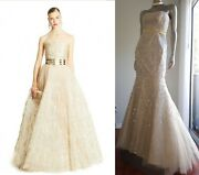 Sale✔9,000 Carolina Herrera Stunning Gold Silver Embr Bead Tulle Lace Gown 4