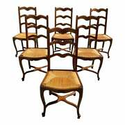 1910s Vintage French Country Provencal Rush Seat Dining Chairs - Set Of 6