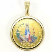 British Gibraltar Peter Rabbit 1/5oz Coin Gold Pendant Top Free Shipping Used