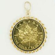 Maple Leaf 1/4oz Coin 24k Yellow Gold 18k Pendant Top Free Shipping Used