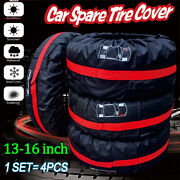 4pcs 13-18 Car Spare Tyre Tire Protection Cover Carry Tote Handle Storage Bags