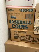 1990 Topps Baseball Coins Case 24 Boxes 36 Packs, 3 Coins Each Griffey, Ryan