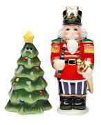 Nutcracker With Christmas Tree Salt And Pepper Shakers