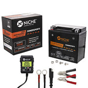 Niche Agm Battery And Charger For Honda Yamaha Raptor Pioneer Ytx14h