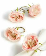 Martha Stewart Collection Royal Blush Napkin Rings Set Of 4 Shabby Floral Easter