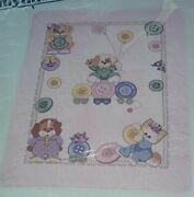 Janlynn Cute As A Button Cross Stitch Quilt Kit/ Has A Kitten And Puppies Playing