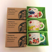 Starbucks Coffee Japan Sakura 2021 You Are Here Collection Ornament 3sets