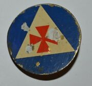 Vintage Wwii Us Civil Defense Fireman Auxiliary Red Cross Hat Badge Pin Rare
