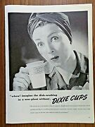 1944 Dixie Cup Ad Lady War-plant Worker