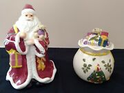 Spode Christmas Tree 2piece Set Father Christmas Cookie Jar And Toy Bag Candy Dish