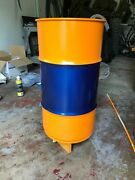 Blue And Orange Racing 16 Gallon Oil Drum Trash Can W/standard Lid