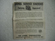 Rare Original 1946 Lionel Service Stations Factory Approved