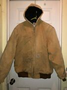 Menand039s Hooded Thermal Insulated Canvas Work Jacket Size Xl Tall