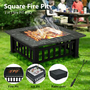 32 Square Fire Pit Outdoor Patio Metal Heater Deck Backyard Fireplace W/ Cover