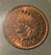 Unc 1906 Indian Head Cent Mostly Red Original Coin
