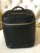 Authentic Quilted Cosmetic Bag Pouch Leather Black
