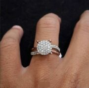 Rose Gold Over Solitaire Round Diamond Halo Antique Style Engagement Ring