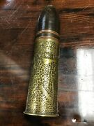 Rare Decorated Wwi Trench Art Artillery Shell Verdun France 191826 Mm.