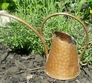 Vintage Gregorian Copper Watering Can Long Spout Hand Hammered Detail Org. Label