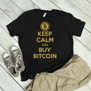 Keep Calm And Buy Bitcoin Gold Digital Currency Coin T-shirt Cotton Black Unisex