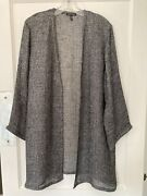 Eileen Fisher Organic Linen Jacket Cardigan S Black White Speckled Open Front M