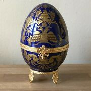 Lovely Faberge Cobalt Blue And Gold Limoges Imperial Czarevich Egg