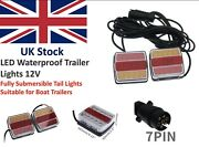 12v Led Submersible Trailer Tail Lights Boat Waterproof Indicator Light 10m Lead