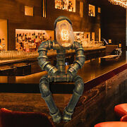 Steampunk Robot Light Industrial Vintage Rust Iron Water Pipe Desk Table Lamps