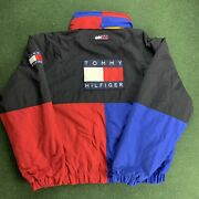 Vintage 90s Big Flag Spell Out Puffer Jacket W Transformable Hood