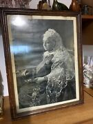 Antique Royal Queen Victoria Print With Frame.