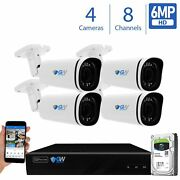 8 Channel Nvr 4 X 6mp Poe Ip Outdoor Varifocal Microphone Security Camera System