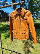 Vintage 1960and039s East West Musical Instruments Co. Smoke Leather Mens Jacket