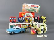 3 Vintage Toys Plastic And Tin With Box Cat Car And Train