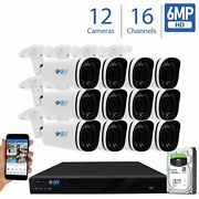 16 Channel Nvr 12 X 6mp Poe Outdoor Varifocal Microphone Security Camera System