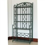 Wrought Iron Metal Bakers Rack Plant Stand In Dark Green