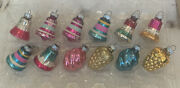 Vintage Christmas Ornaments 12 Shiny Brite Grape Clusters And Swirl + Bells 2.5andrdquo