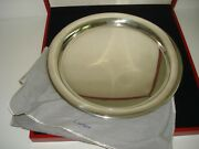 Vintage 11 Round Pewter Tray Presentation Box And Pouch Serving Platter