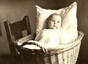 Vintage 1910and039s Rppc Postcard Portrait Cute Baby In A Basket Kitchen Chair
