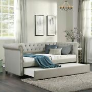 Elegant Daybed With Trundle Upholstered Tufted Sofa Bed Twin Size Beige Wheel
