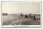 Vintage 1910's Photo Postcard Antique Tractor Plowing Fields Round Lake New York