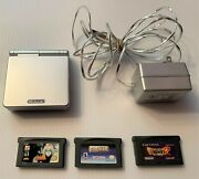 Nintendo Game Boy Gameboy Advance Sp Silver Lot Console, Charger + 3 Games,