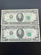 Lot Of 2 Two 1988a - 1985 20 Dollar Us Small Face High Grade Notes
