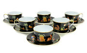 6 And Co. Private Stock Le Tallec Cup And Saucers In Black Shoulder