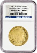 2007 W 50 American Gold Buffalo 1 Oz .9999 Ngc Pf69 Ultra Cameo Early Releases
