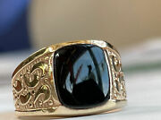 Antique / Vintage 14k Solid Yellow Gold And Onyx Men's Fine Jewelry Ring